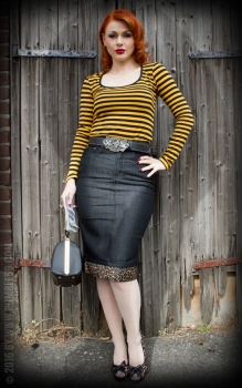 Rumble59 Perfect Black Denim Pencil Skirt - Leo