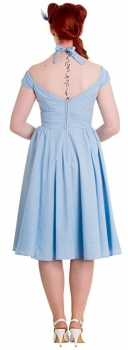 Hell Bunny Eveline Dress Sky Blue, Rockabilly, Petticoat