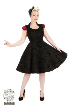 Hearts and Roses  Black Leo Flock Dress