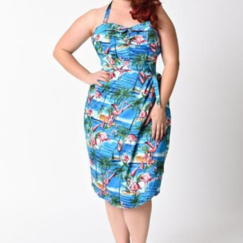 Unique Vintage Blue Flamingo Wrap Dress
