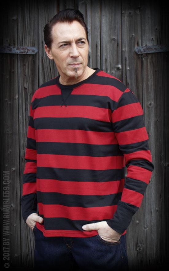 differently 10657 2e84c Herren Vintage Pullover Rumble59 Sweatshirt gestreift rot ...